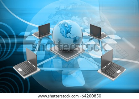 Digital illustration of Global Computer Network concept in colour background - stock photo