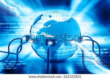 Digital illustration of Global internet connection - stock photo
