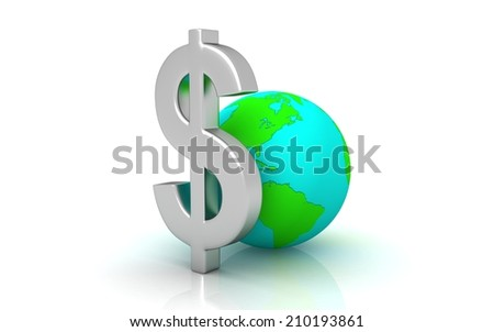 digital illustration of globe and dollar in white background - stock photo