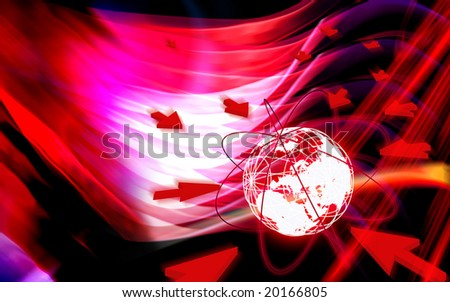 Digital illustration of Globe and network - stock photo