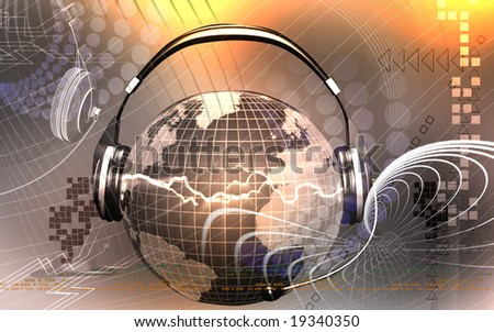 Digital illustration of globe with head phone	 - stock photo