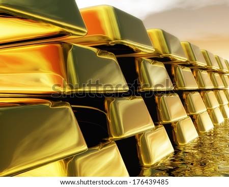 Digital Illustration of Gold Bullions - stock photo