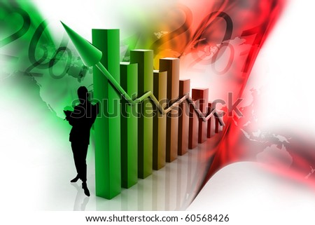 Digital illustration of graph in color background showing rise in profits or earnings - stock photo
