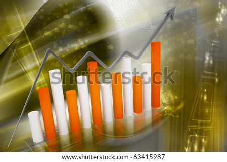 Digital illustration of graph showing rise in profit or earnings - stock photo