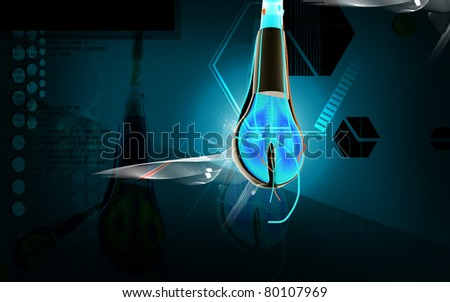 Digital illustration of Hair cross section in colour background - stock photo