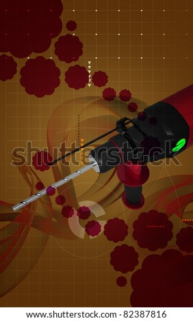 Digital illustration of hammer drill in colour background