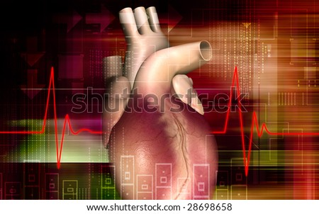 Digital illustration of heart and ECG  background  	 - stock photo
