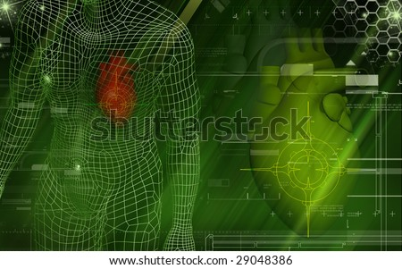 Digital illustration of heart and human body - stock photo