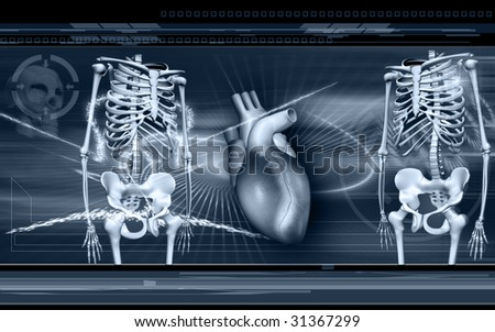 Digital illustration of heart and Skelton in colour background - stock photo