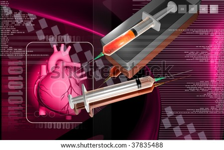 Digital illustration of  heart  and  syringe  in  colour  background
