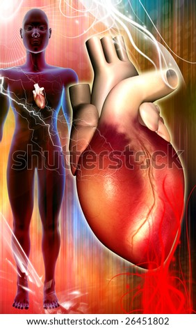 Digital illustration of heart in and human body   	 - stock photo