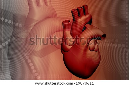 Digital illustration of heart in brown colour   	 - stock photo