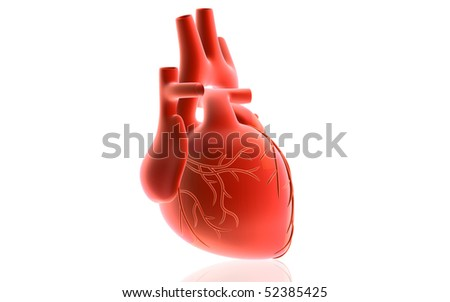 Digital illustration of  heart  in isolated  background - stock photo