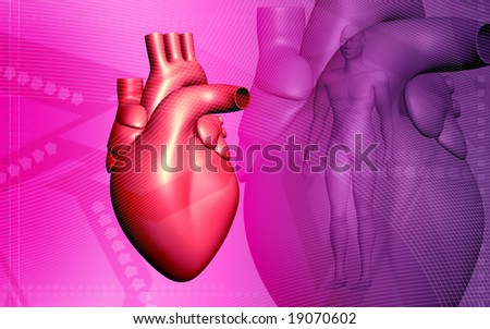 Digital illustration of heart in pink background  	 - stock photo