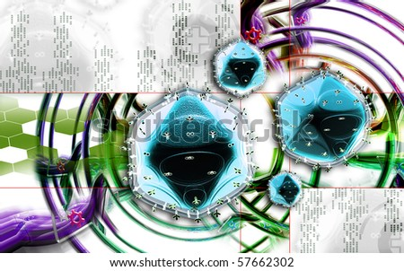 Digital illustration of  HIV  in colour background