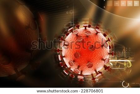 Digital illustration of  HIV Virus  in colour  background  - stock photo