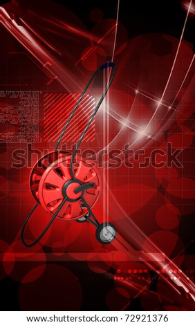 Digital illustration of hose reel trolley in colour background