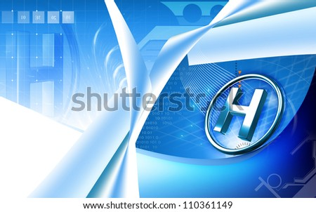 Digital illustration of hospital sign in isolated background