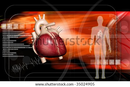 Digital  illustration  of  human   body  and heart   in  colour  background 	 - stock photo