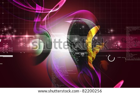 Digital illustration of  human cell   in colour  background