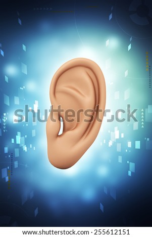 Digital illustration of Human ear in colour background - stock photo