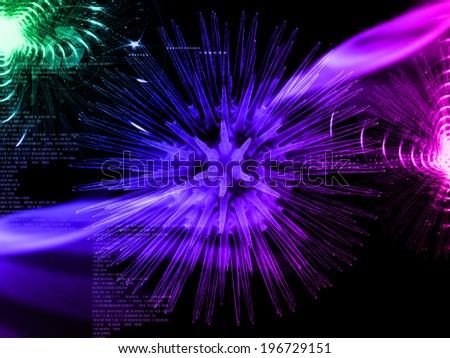 Digital illustration of influenza virus in colour background  - stock photo