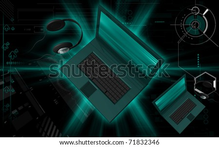 Digital illustration of lap top in colour background