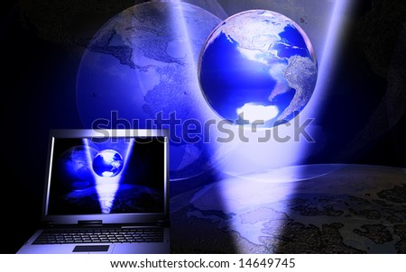 digital illustration of laptop and earth - stock photo