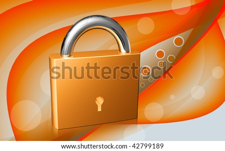 Digital illustration of lock symbol in colour background