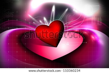 Digital Illustration Love Symbol Colour Background Stock