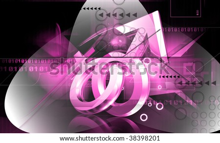 Digital illustration of male and female sign in colour background