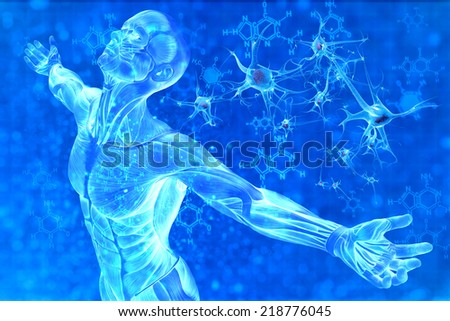 Digital illustration of man and chemical formula DNA - stock photo