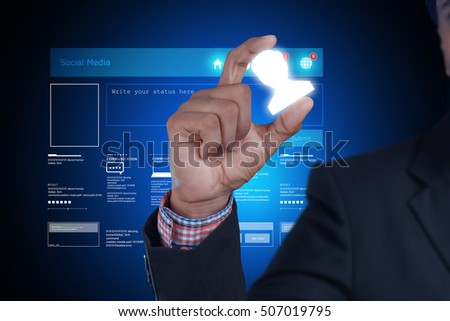 digital illustration of Man showing networking with virtual display
