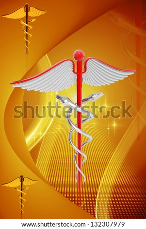 Digital illustration of medical symbol in colour background - stock photo