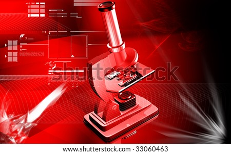 Digital illustration of microscope with violet colour