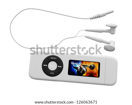 Digital illustration of modern mp3 player with earphones in white background / Modern Mp3 Player with Earphones - stock photo