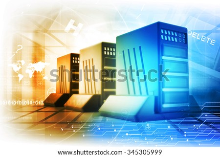 Digital illustration of modern servers - stock photo