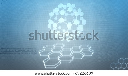 Digital illustration of molecules in abstract background - stock photo