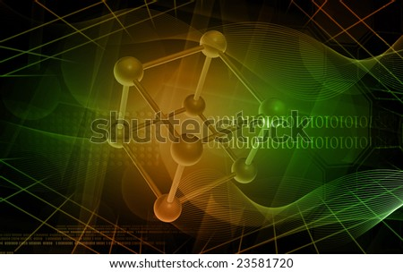 Digital illustration of molecules in green colour