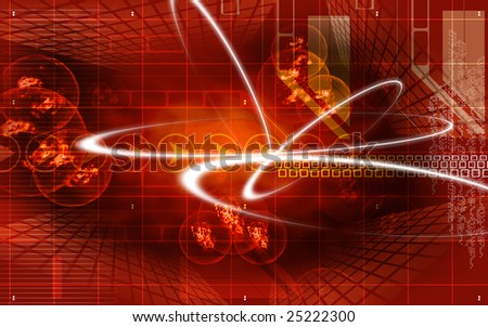 Digital illustration of molecules in red colour  - stock photo