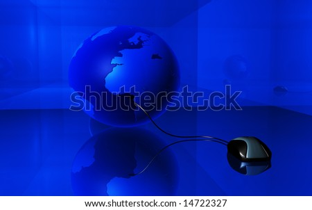 digital illustration of mouse and earth in blue background - stock photo