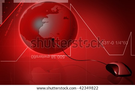Digital illustration of mouse and earth in colour background - stock photo
