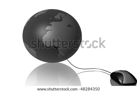 Digital illustration of mouse and earth in isolated background	 - stock photo