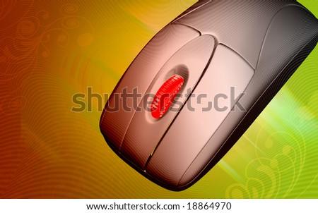 Digital illustration of mouse transmitting light  - stock photo