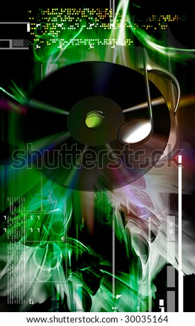 Digital illustration of Music sign and compact disk in colour background