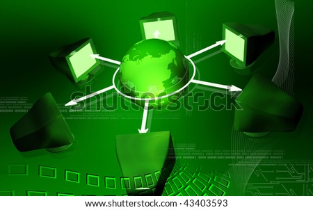 Digital illustration of network in colour background - stock photo