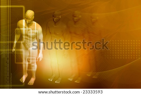 Digital illustration of neuron and human body 	 - stock photo