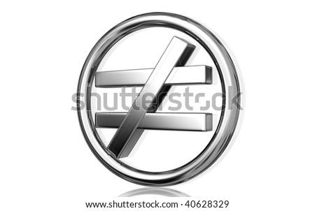 Digital Illustration Not Equal Sign Isolated Stock Illustration