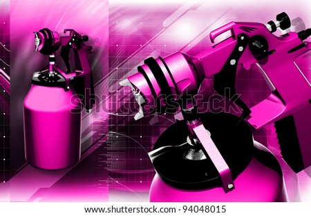 Digital illustration of nozzle spray gun in colour background