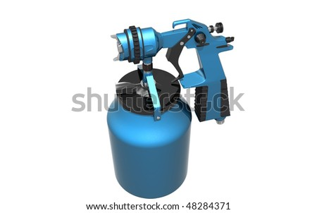 Digital illustration of nozzle spray gun in isolated background - stock photo